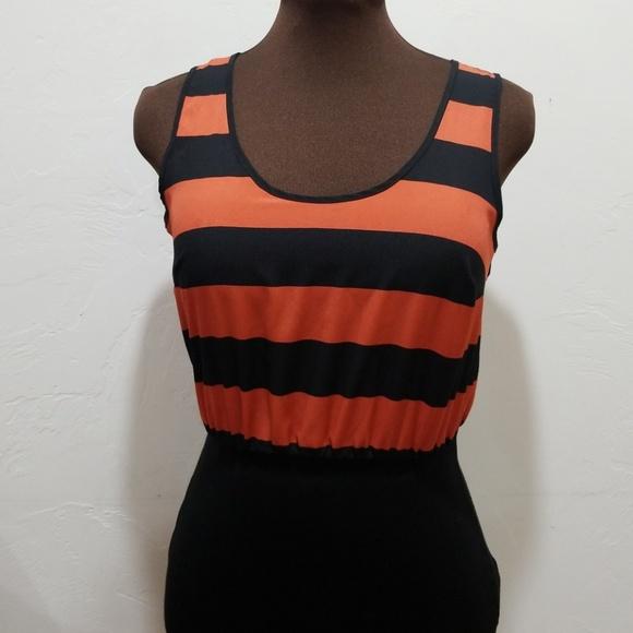 Light orange and black striped dress XXI